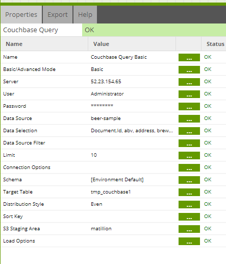 couchbase query matillion etl amazon redshift properties