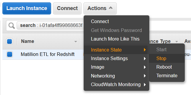 upgrading your instance size matillion etl amazon redshift 3 actions