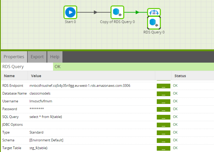 using iterator components in matillion etl to load all tables from an rds database connect