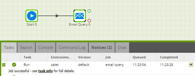 Using the Email Query component in Matillion ETL for Redshift - Job Successful