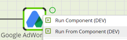 Google AdWords Query Component in - Running the Component