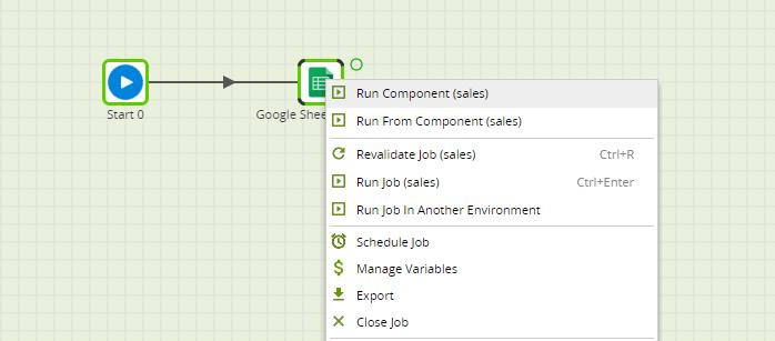 Google Sheets Query Component in Matillion ETL - run component